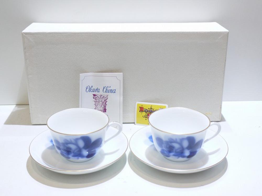 OKURA ペアカップ&ソーサーセット ブルーローズ 78CR/8211 長野県大町市 ブランド食器買取