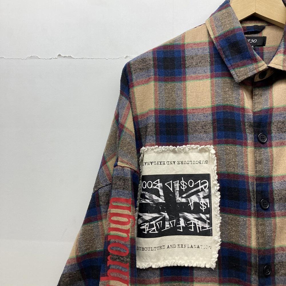 安曇野市 古着買取   RE730 フリンジ チェックシャツ 写真4