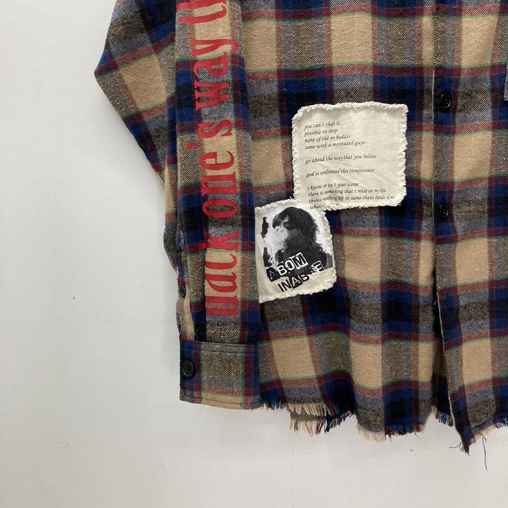 安曇野市 古着買取   RE730 フリンジ チェックシャツ 写真6