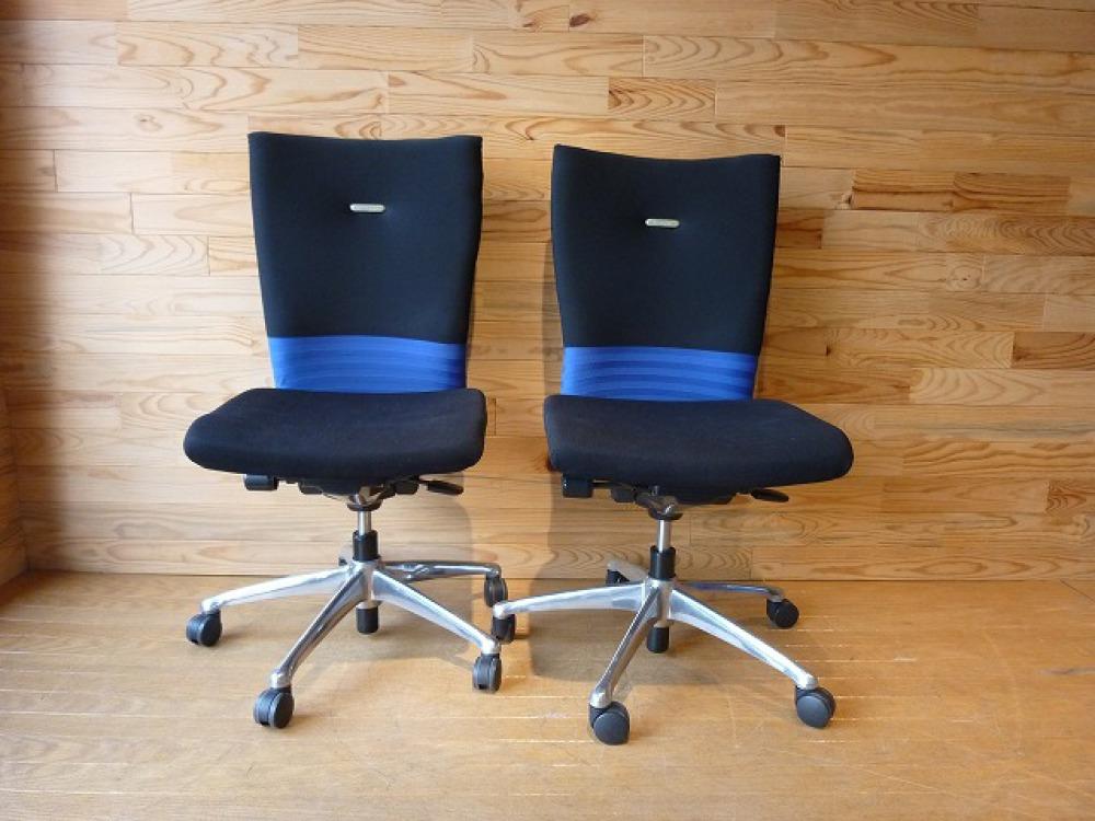 オカムラ オフィスチェア 2脚セット フィーゴ 多機能 事務椅子 ブルー 肘なし 出張買取 | 長野県長野市