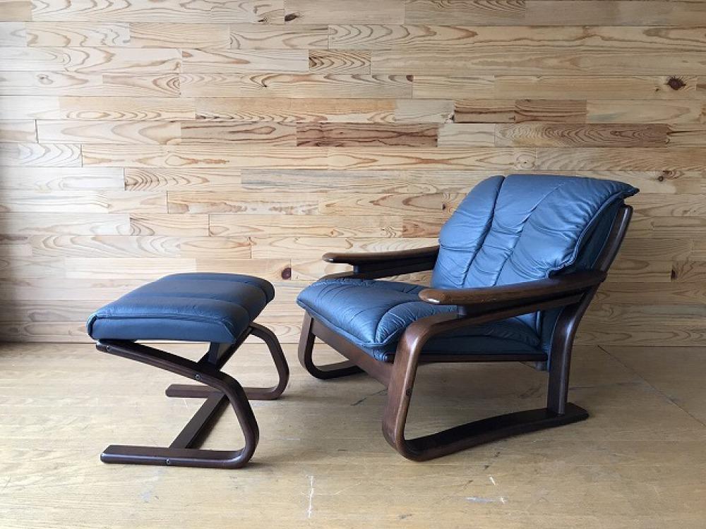 富士ファニチア イージーチェア 椅子 本革 レザー オットマン付 北欧スタイル 出張買取 | 長野県松本市